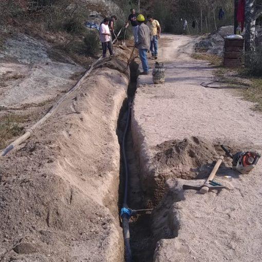 Cambio de cañería de agua centro de La Cumbrecita