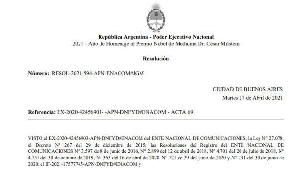 Adjudicación de ENACOM a la Cooperativa de La Cumbrecita